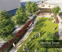 Hunt Plaza at WestStar Tower aerial view rendering
