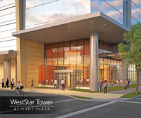 WestStar Tower at Hunt Plaza Lobby entrance rendering